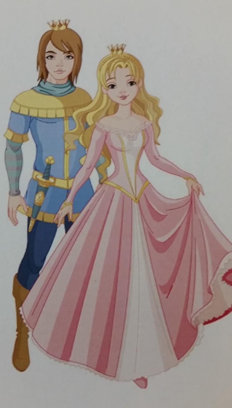 Tecknad prins och prinsessa.