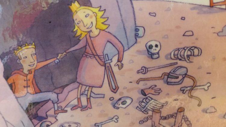 Illustration av en prinsessa som räddar en prins.