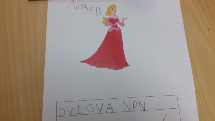 Skrivuppgift med text om saga.