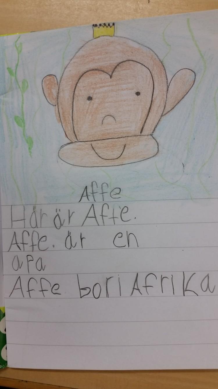 En elev har skrivit om apan Affe.