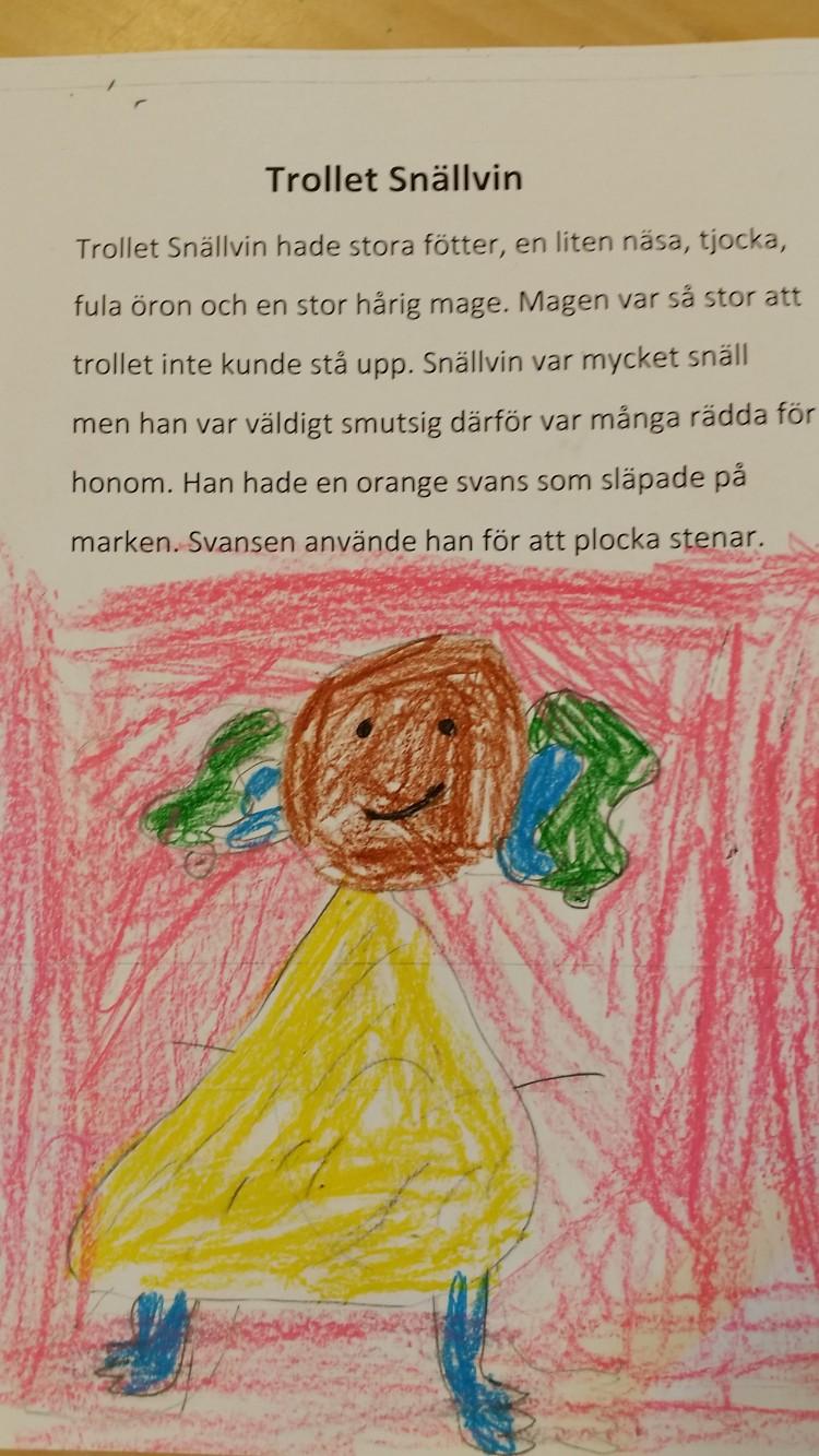 Teckning av ett troll.