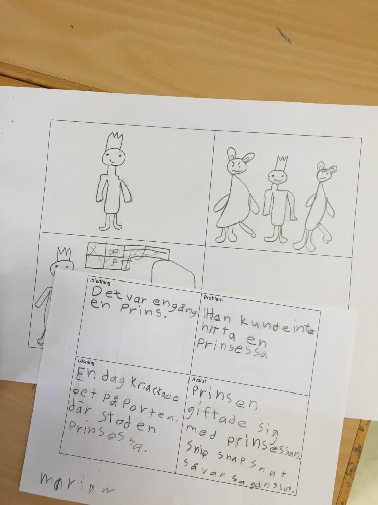 Fyra serierutor med saga ritad.