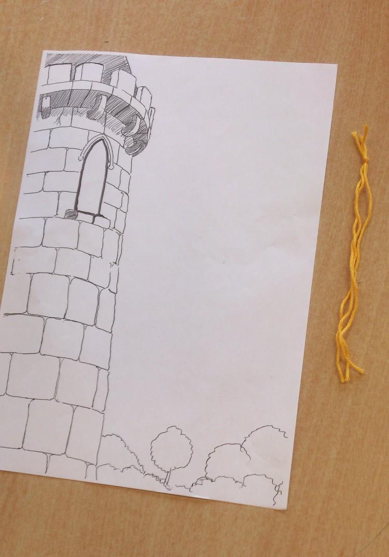 Teckning av ett torn.