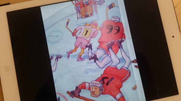 Tecknade ishockeyspelare.