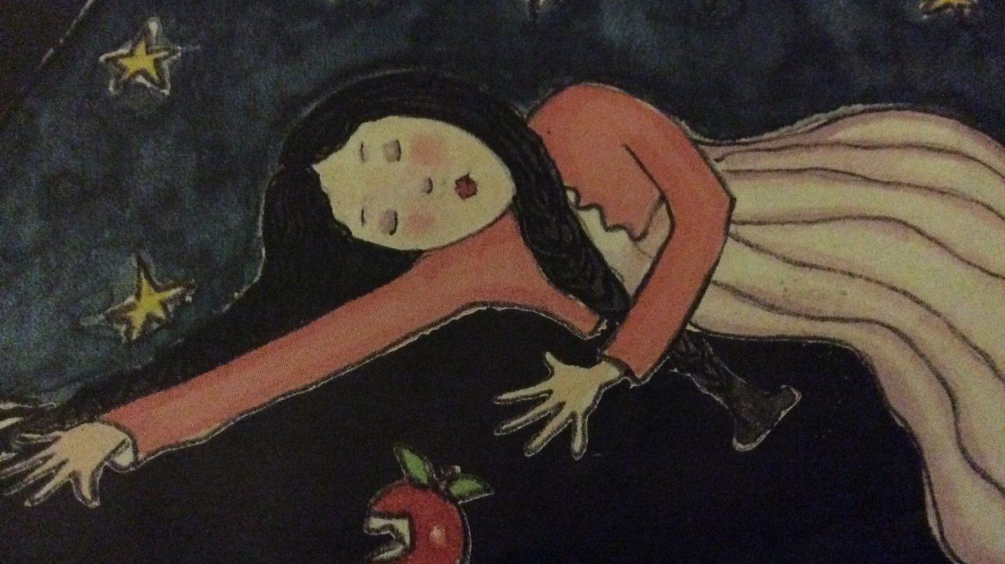 """Illustration ur """"Snövit och de sju dvärgarna""""."""