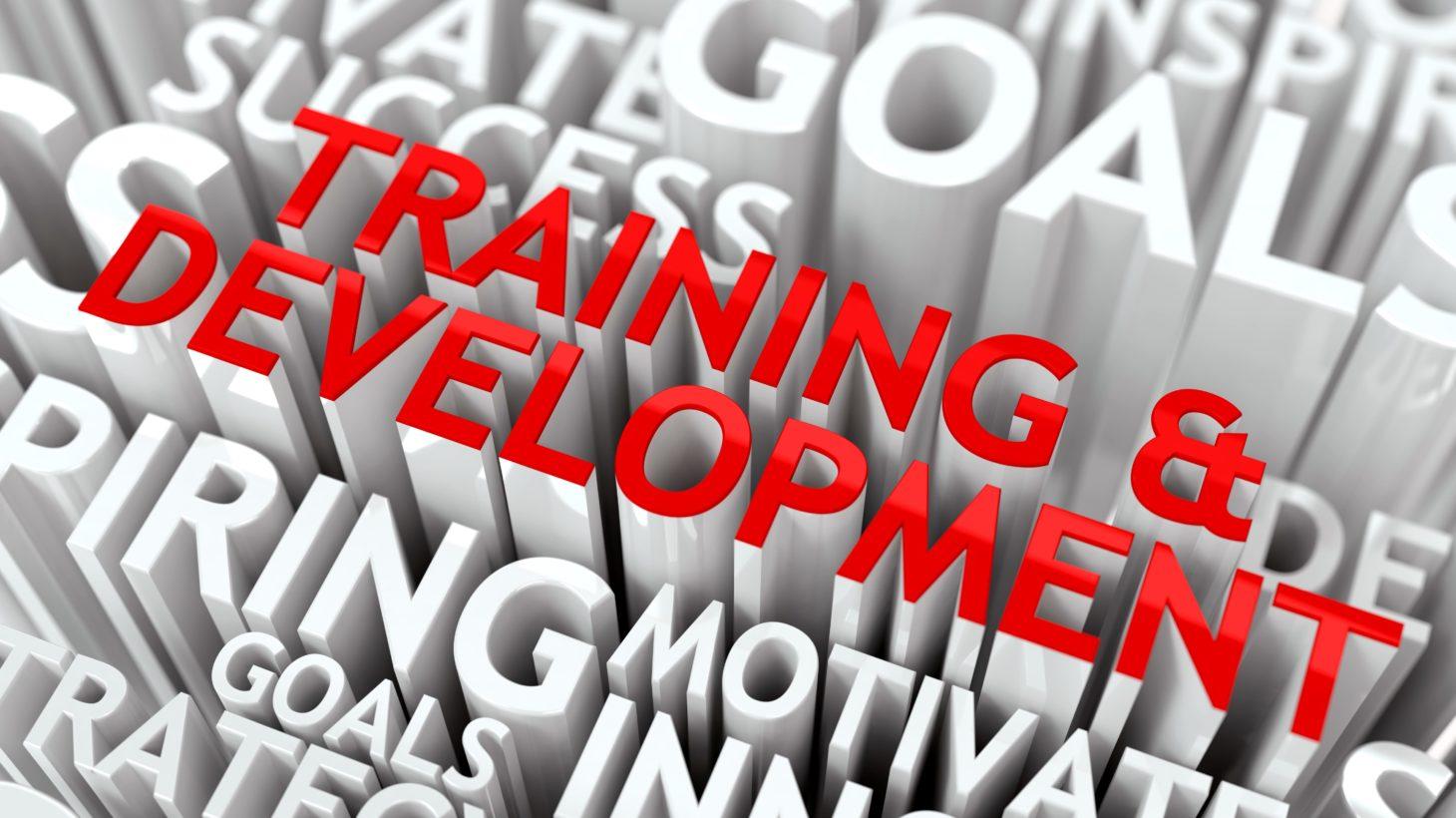 3D-ord där det står träning och utveckling.
