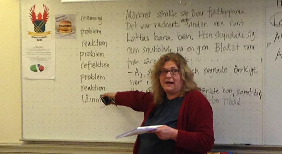 Pedagog undervisar framför tavla.
