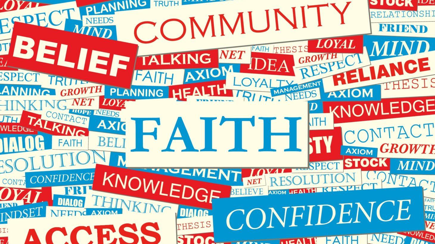 Olika engelska begrepp för tro ligger i hög.