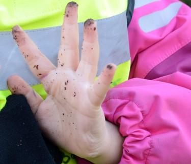 En barnhand med jord på fingrarna.