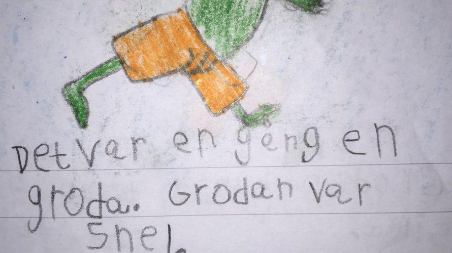 Teckning och text av och om grodan.