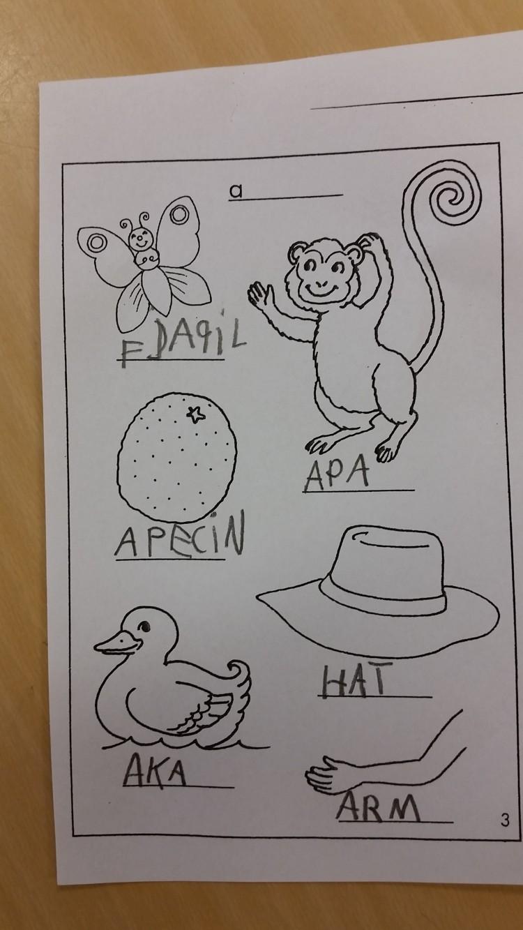 Papper med tecknade figurer där barn skrivit under vad de föreställer.