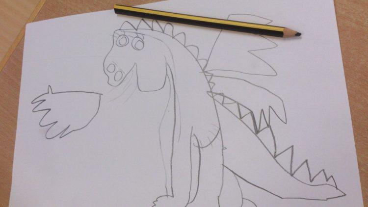 Teckning av en drake.