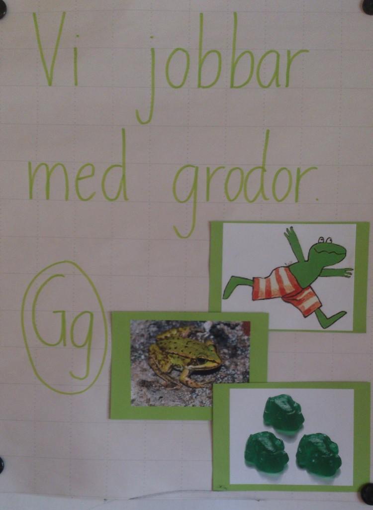 Bilder på grodor och bokstaven G står på papper.