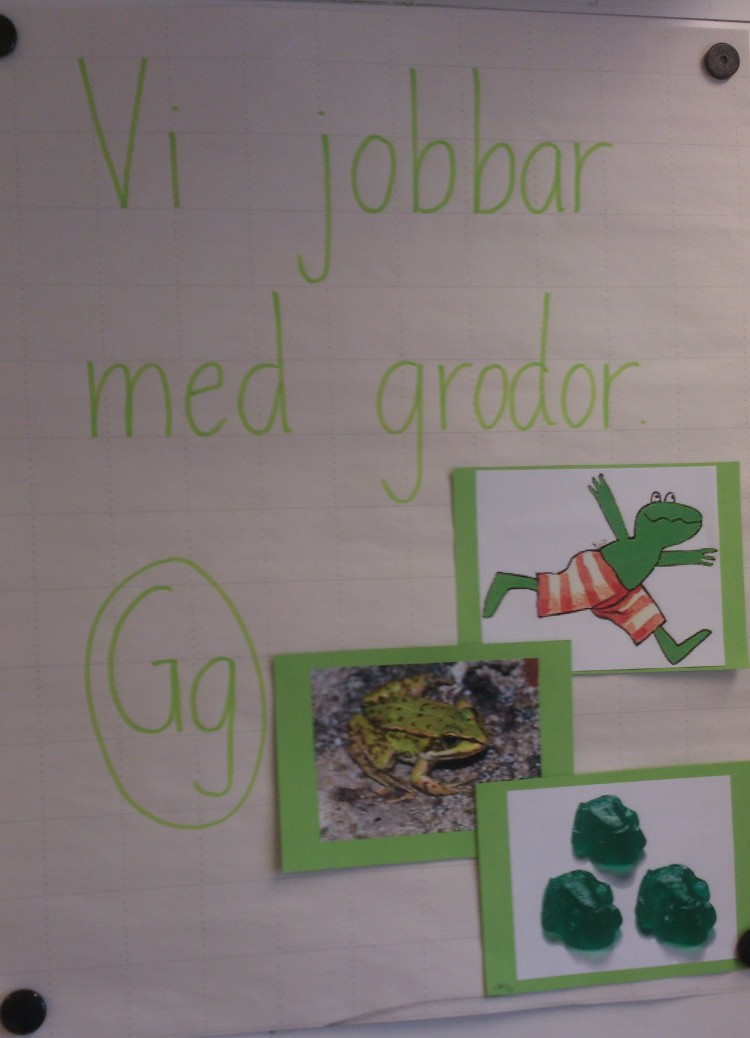 Bilder av grodor och bokstaven G på papper.