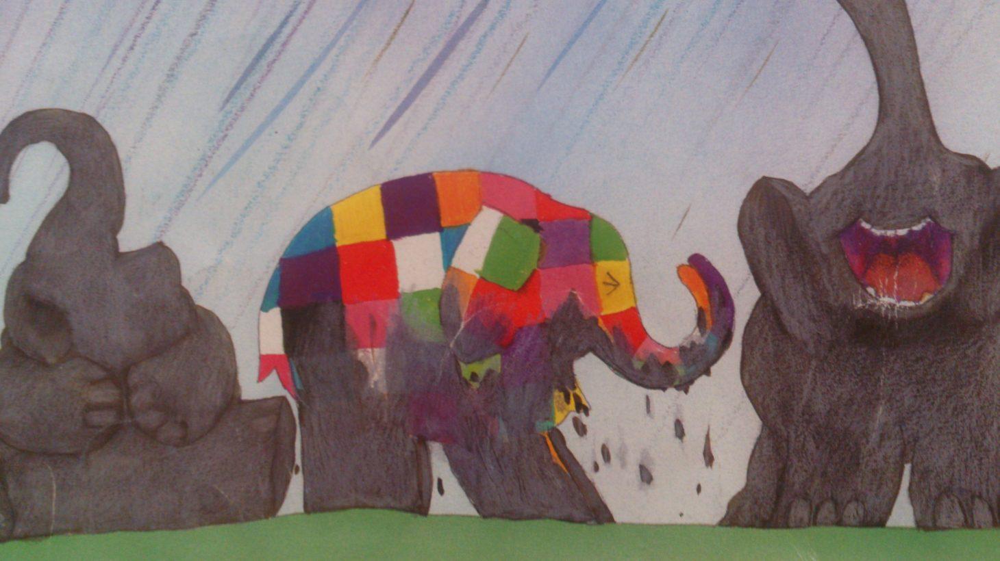 Tecknade elefanter.