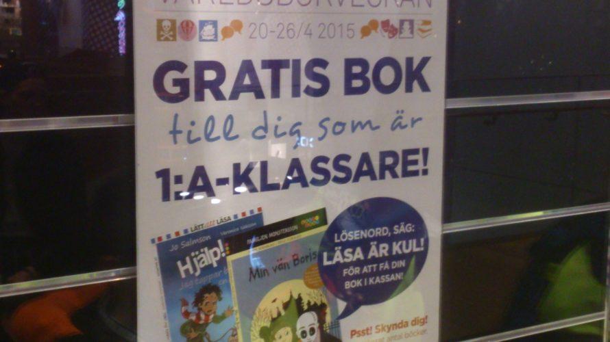 Ballonger och affisch om gratis bok.