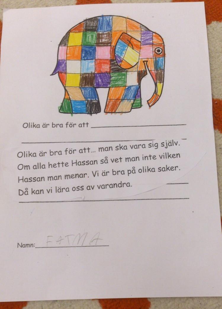 Tecknad elefant och text om att vara olika.