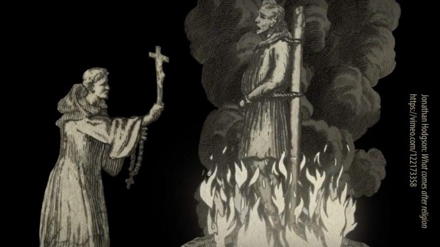 Tecknad man bränns på bål.