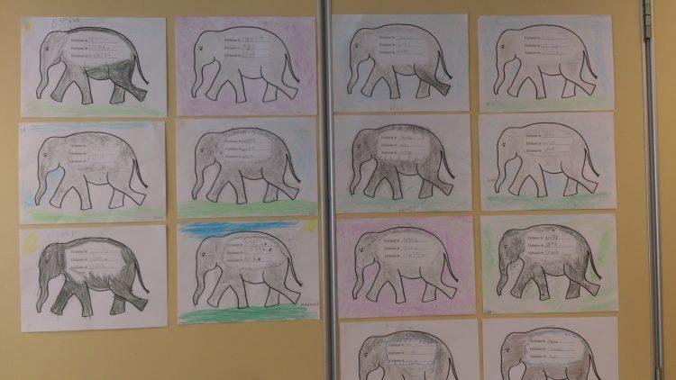 Tecknad elefant och adjektiv om elefanter.