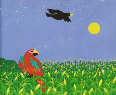 Tecknade fåglar i majsfält.