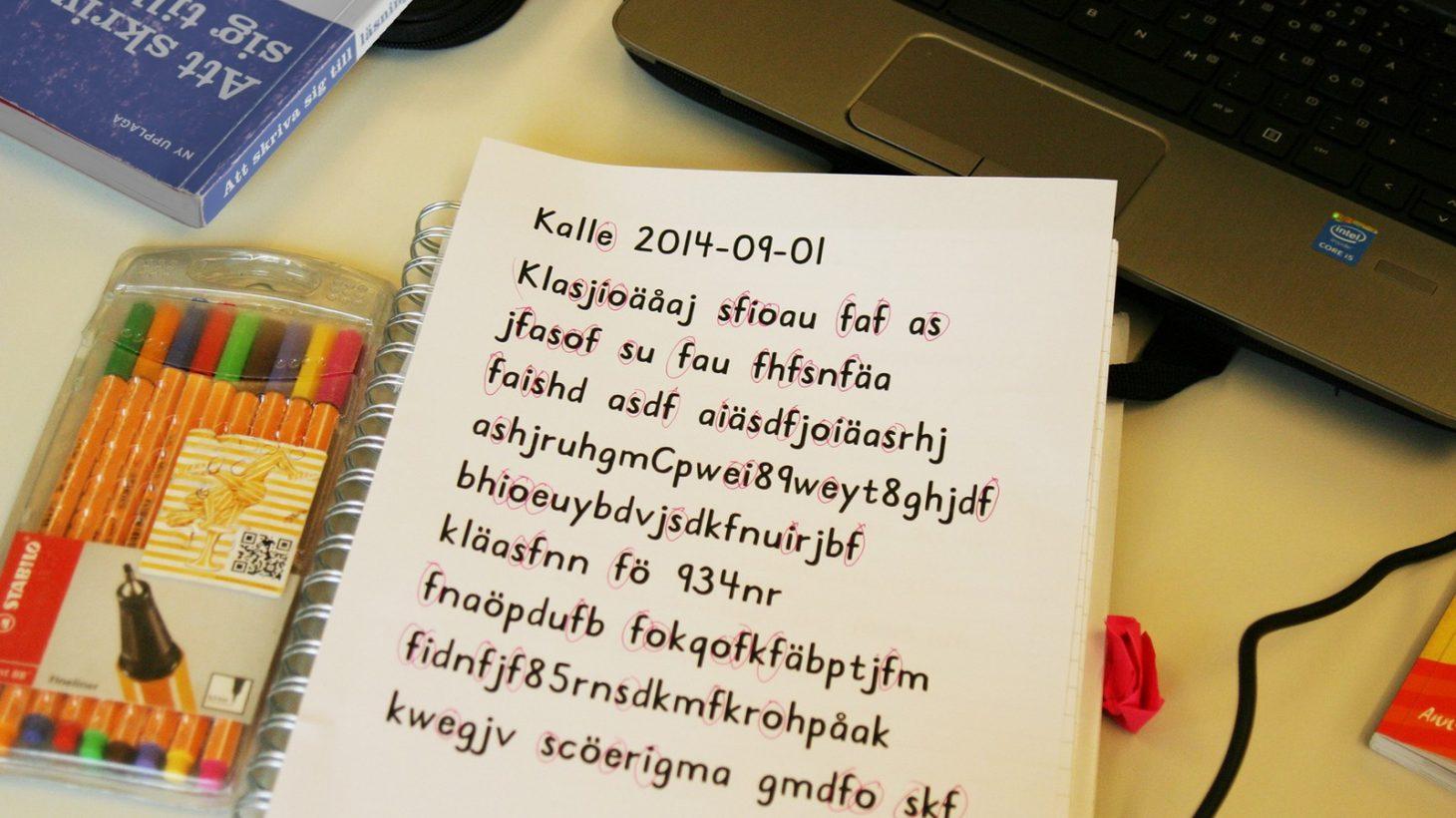 Block med text där en bokstav är mrkerad.
