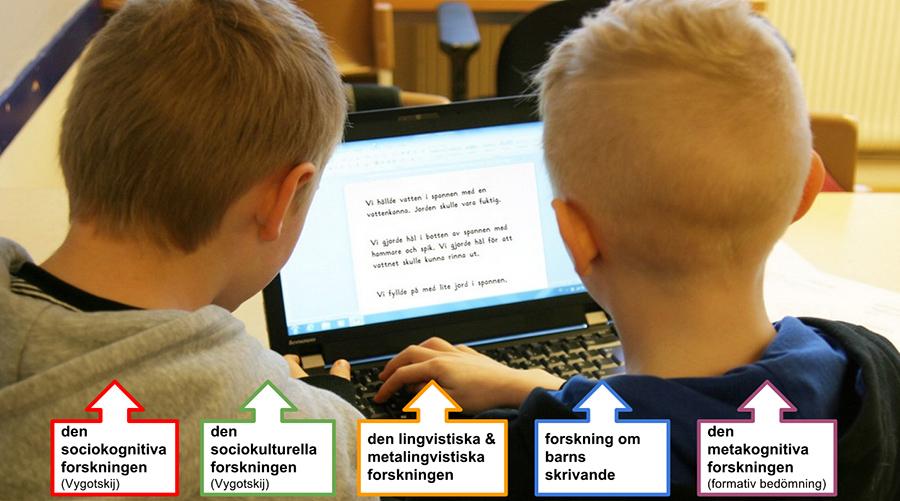 Elever skriver på dator.