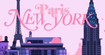 Tecknad skyline från paris och New york.