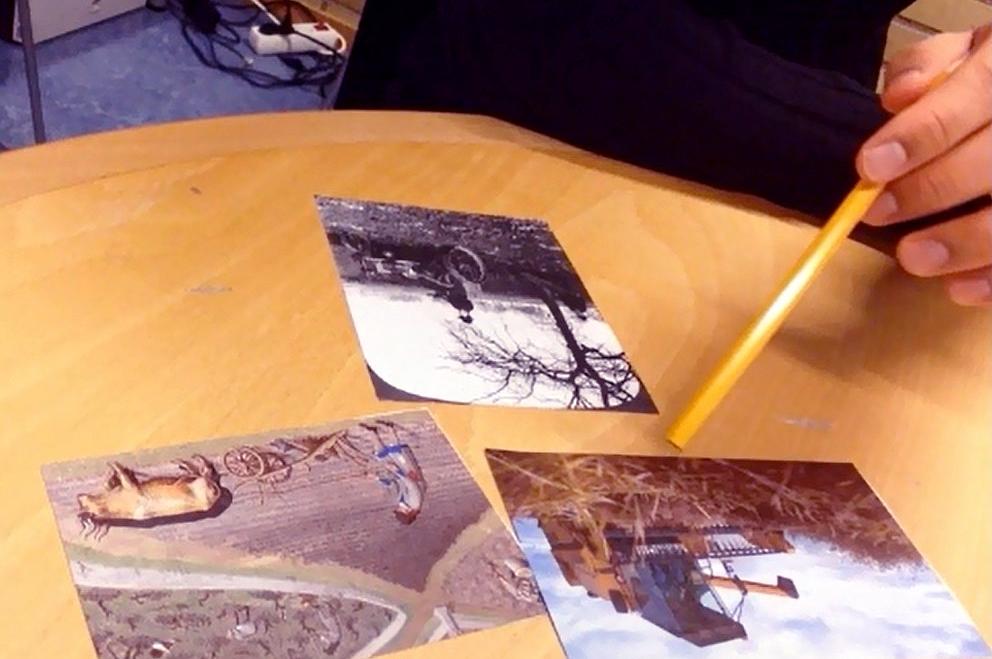 Tre bilder med olika motiv.
