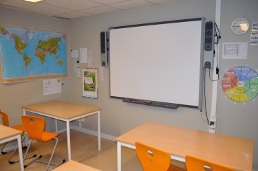 Duk framme i klassrum.
