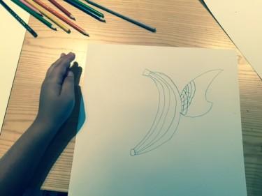 Teckning på papper.