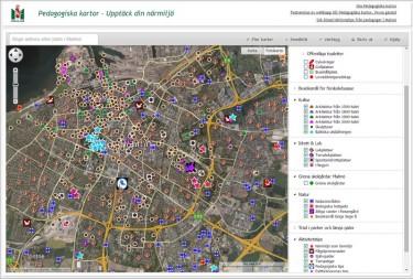 Skärmdump på Pedagogiska kartor.
