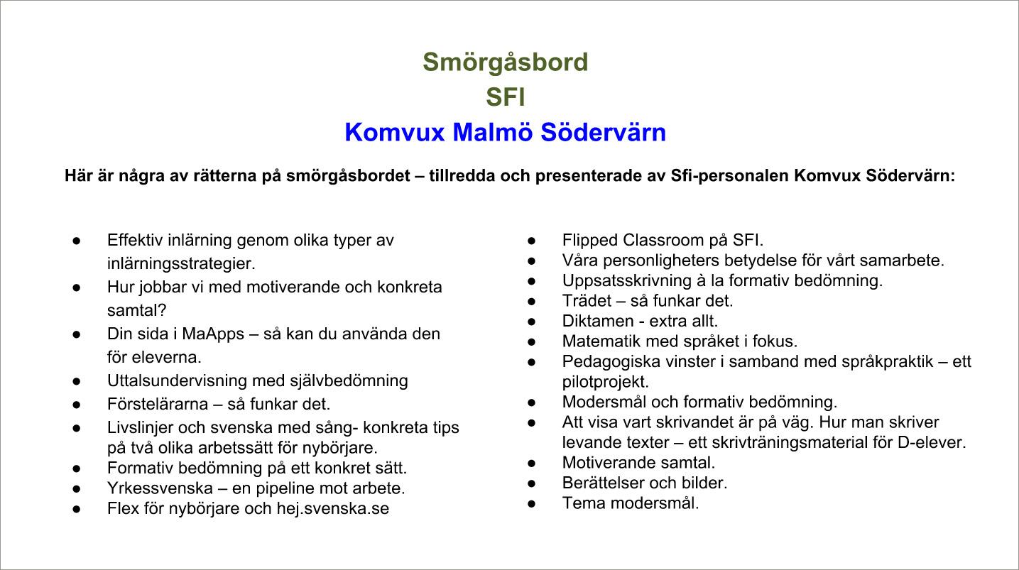 """Lista över SFI-personalens """"Smörgåsbord""""."""