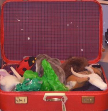 Gosedjur nerpackade i röd resväska.