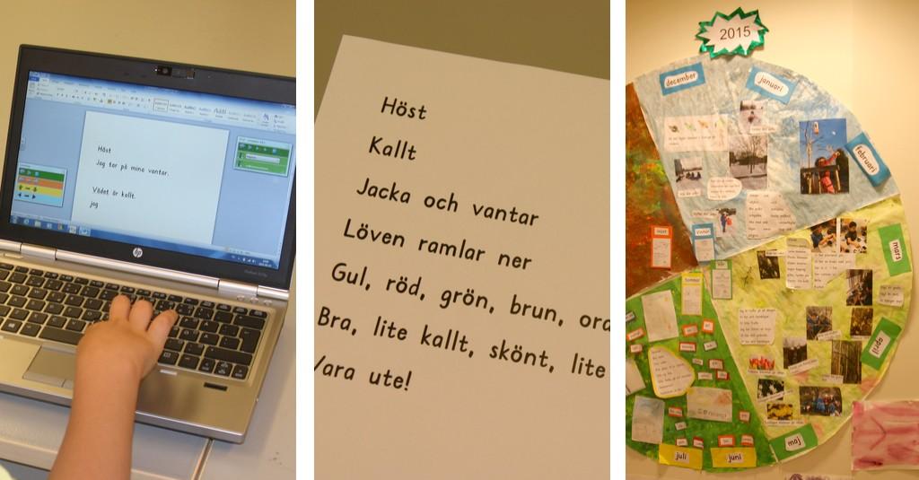 Elev skriver text om hösten på datorn.