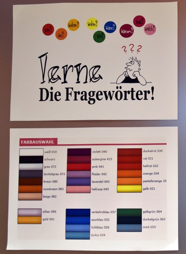 Bilder på färger och dess namn på tyska.