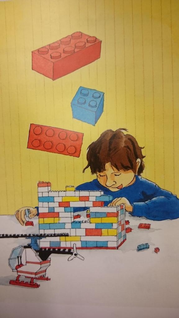 Tecknat barn bygger lego.