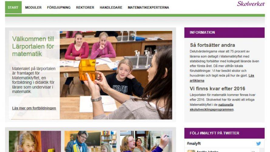 Skärmbild av lärportalen för matematik.
