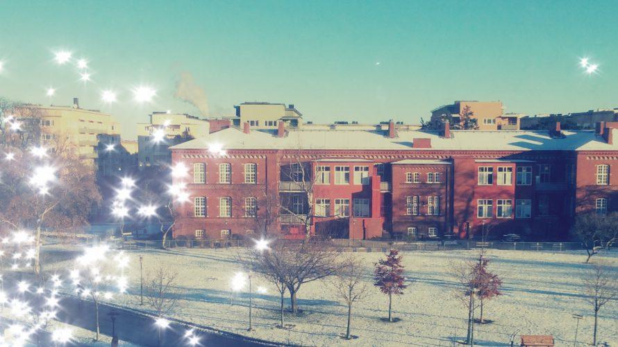 Rönnenskolan med snö på taket.