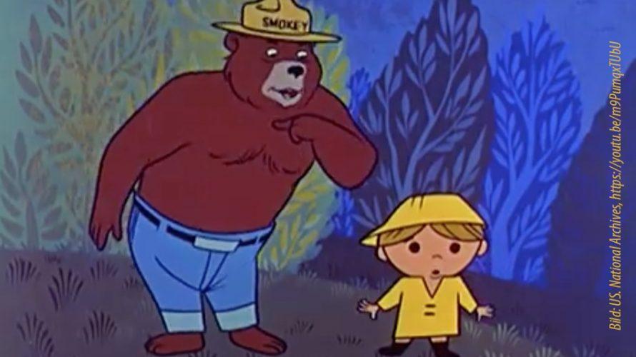 Tecknad björn och liten pojke.