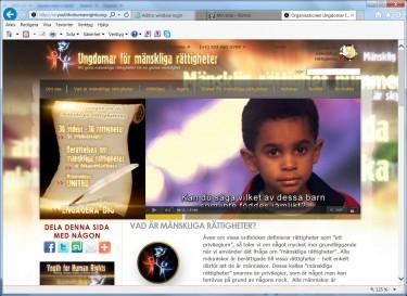 Skärmbild av ungdomar för mänskliga rättigheters hemsida.