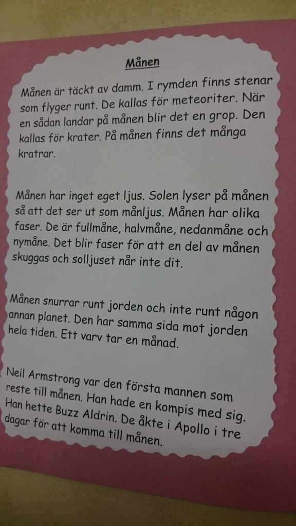 Text om månen.