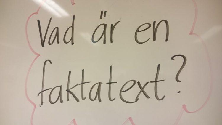Text om vad är en faktatext står på tavla.
