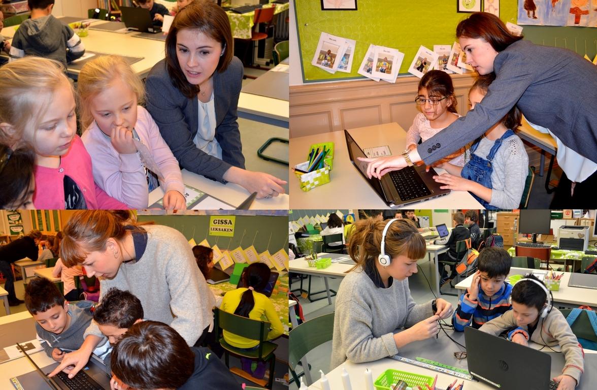Elever och pedagoger jobbar ihop.