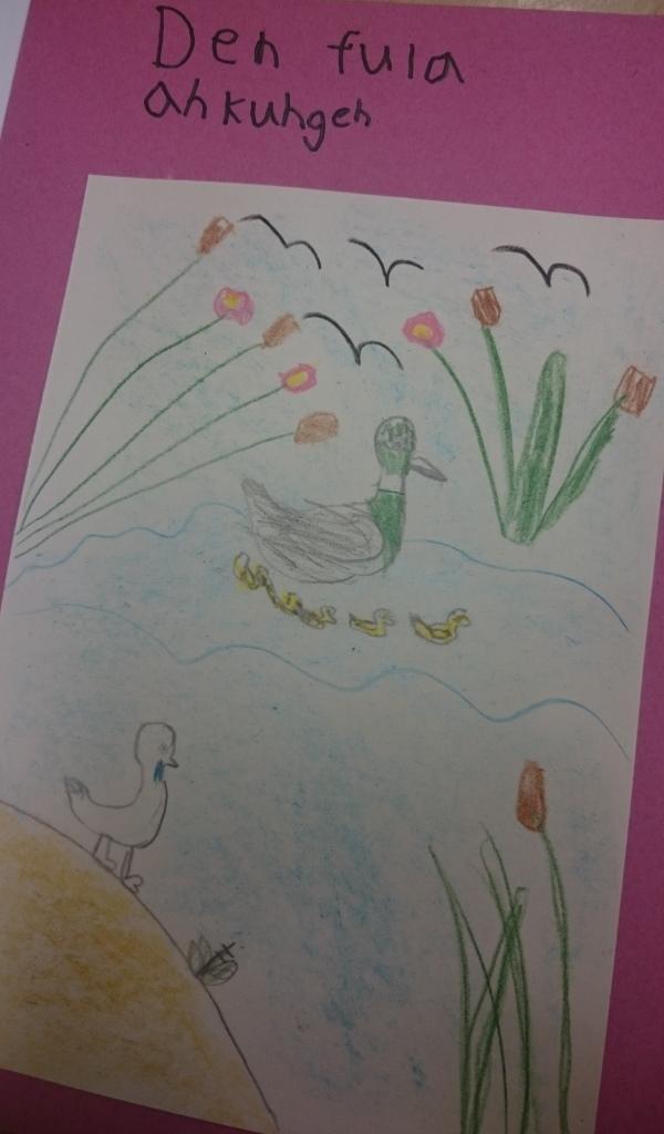 Teckning av svanar.