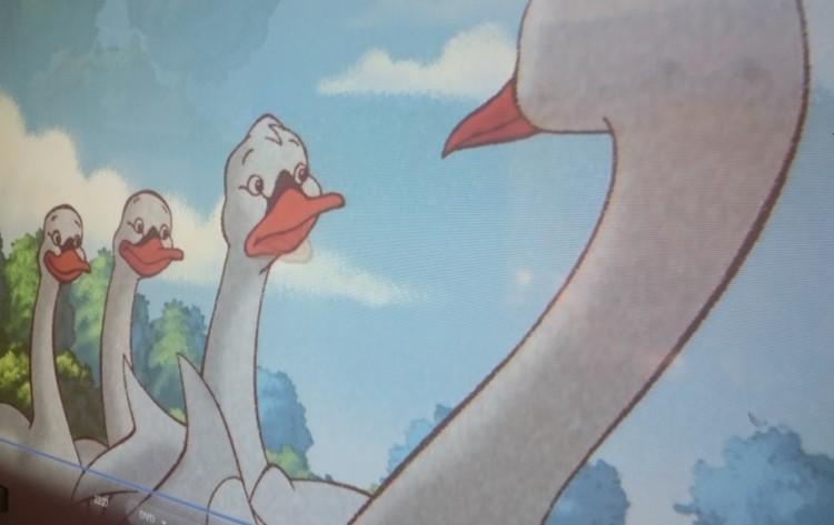 Tecknade svanar.