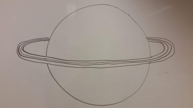 Elev tecknar planet.