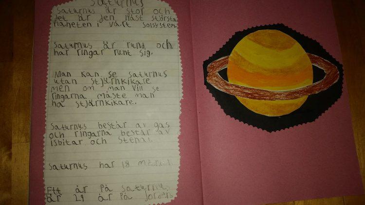 Bild och text skriven om Saturnus.