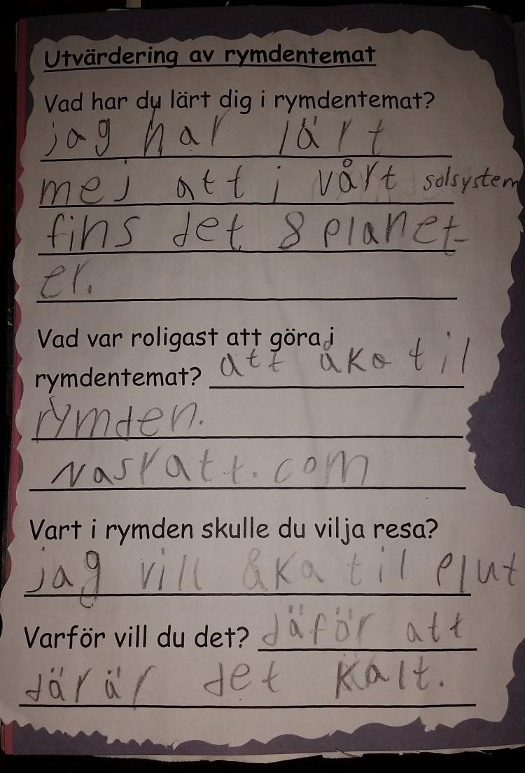 Skrivna svar på frågor.
