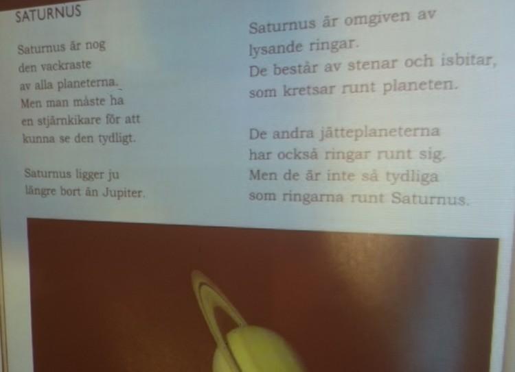 Bild och text om Saturnus.