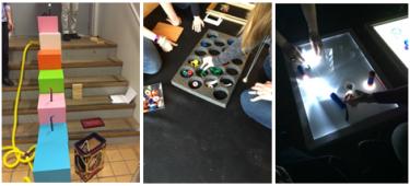 Elever gör olika experiment.